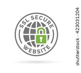 ssl secure website icon. globe... | Shutterstock .eps vector #423031204