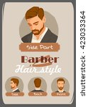 men's haircut and hairstyle.... | Shutterstock .eps vector #423033364