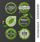 organic food labels and badges. ... | Shutterstock .eps vector #423034240