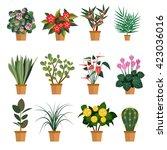 vector set of flowers.... | Shutterstock .eps vector #423036016