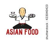 asian food. japanese man ... | Shutterstock .eps vector #423040423