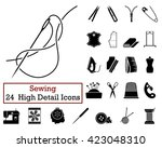 set of 24 sewing icons in black ... | Shutterstock .eps vector #423048310