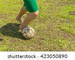 amateur soccer on old and bad... | Shutterstock . vector #423050890