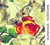 Art Vintage Colored Floral...