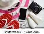 summer background  beach... | Shutterstock . vector #423059008