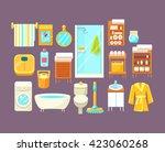 bathroom interior elements set...   Shutterstock .eps vector #423060268