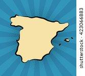 retro map of spain stylized map.... | Shutterstock .eps vector #423066883