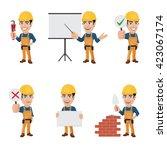 set of construction worker... | Shutterstock .eps vector #423067174