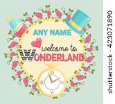 Stock vector lovely personal invitation for themed wonderland party customize template by adding name and time 423071890