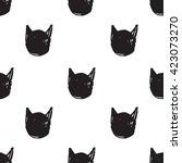 black cats head pattern | Shutterstock .eps vector #423073270
