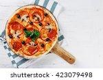 top view italian pizza on... | Shutterstock . vector #423079498