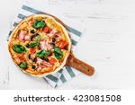 top view very hot italian pizza ... | Shutterstock . vector #423081508