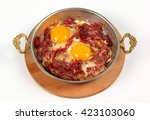 fried egg with pastrami | Shutterstock . vector #423103060