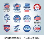 usa and made in the usa icons... | Shutterstock .eps vector #423105403