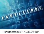 excellence   text in blue glass ... | Shutterstock . vector #423107404