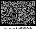dancing party pattern with... | Shutterstock .eps vector #423108454