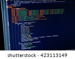 code of web page displayed on a ... | Shutterstock . vector #423113149