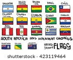 south america hand drawn flags | Shutterstock .eps vector #423119464