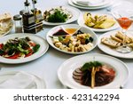 different meals for the guests... | Shutterstock . vector #423142294