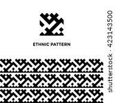 ethnic geometric seamless... | Shutterstock .eps vector #423143500
