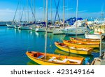 the sailing yachts wait in port ... | Shutterstock . vector #423149164