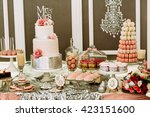 luxury wedding cake with the... | Shutterstock . vector #423151600