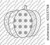 pumpkin adult coloring book... | Shutterstock .eps vector #423157768