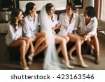 bride and her friends have a... | Shutterstock . vector #423163546