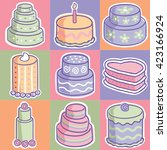 set of fun hand drawn layered... | Shutterstock .eps vector #423166924