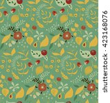 seamless vector floral pattern... | Shutterstock .eps vector #423168076