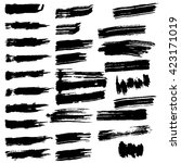 set of black paint  ink brush... | Shutterstock .eps vector #423171019
