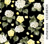 black pattern of summer flowers. | Shutterstock .eps vector #423188524