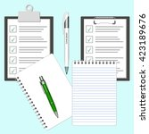 illustrated clipboard with... | Shutterstock .eps vector #423189676