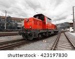 red bright diesel locomotive   Shutterstock . vector #423197830