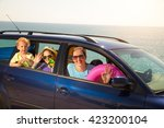 mother with two kids travel by... | Shutterstock . vector #423200104