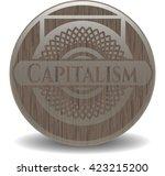 capitalism wood emblem. retro | Shutterstock .eps vector #423215200