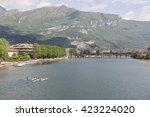 panorama of the lake opposite... | Shutterstock . vector #423224020
