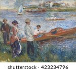 Oarsmen at Chatou, by Auguste Renoir, 1879, French impressionist painting, oil on canvas. The man in this boat may be the artist