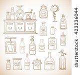 sketches of vintage drugstore... | Shutterstock .eps vector #423236044