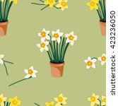 potted daffodils seamless... | Shutterstock .eps vector #423236050