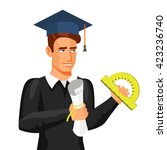 a graduate with a certificate... | Shutterstock .eps vector #423236740