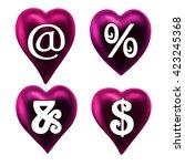 alphabet letters purple heart.... | Shutterstock . vector #423245368
