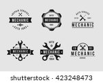mechanic logo set white | Shutterstock .eps vector #423248473