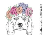 cute puppy in flower wreath.... | Shutterstock .eps vector #423257473