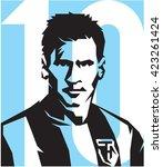 may 20  2016  footballer lionel ... | Shutterstock .eps vector #423261424