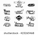 hand drawn farm fresh logo set. ... | Shutterstock .eps vector #423265468