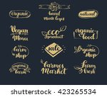 hand drawn farm fresh logo set. ... | Shutterstock .eps vector #423265534