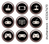 video game icons metal icon set | Shutterstock .eps vector #423267670