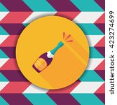 wine bottle flat icon with long ... | Shutterstock .eps vector #423274699