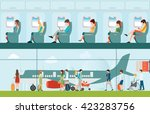 passenger airline in airport... | Shutterstock .eps vector #423283756